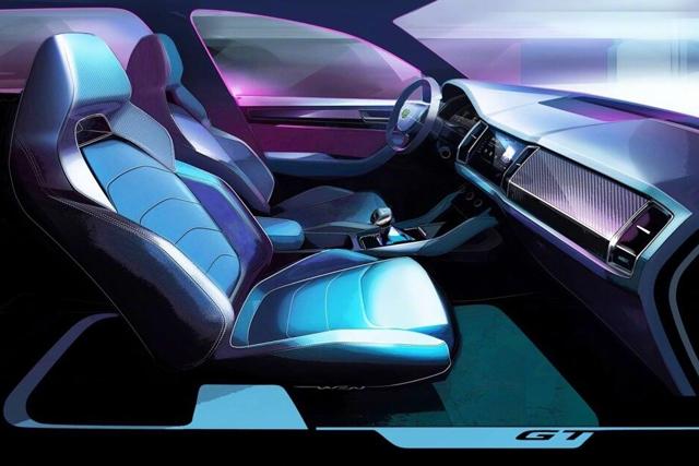 新车|柯迪亚克GT设计草图 内饰细节调整