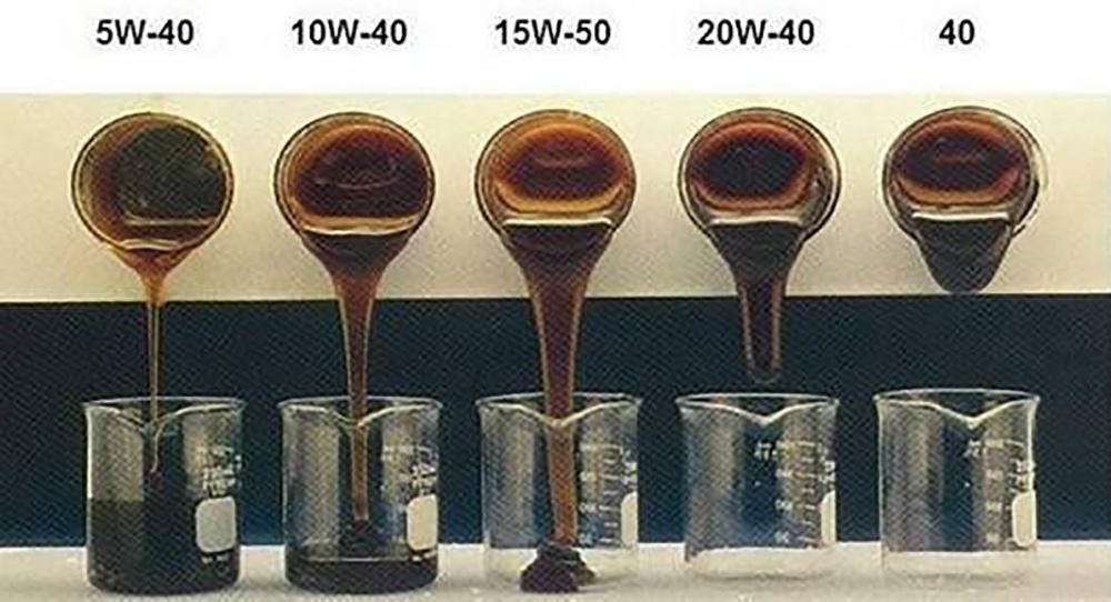 不同SAE标号机油在0℃下的流动性