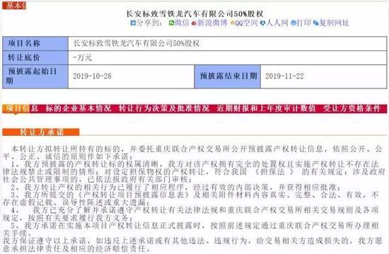 """與PSA""""緣盡"""" 長安出售長安PSA50%股權"""