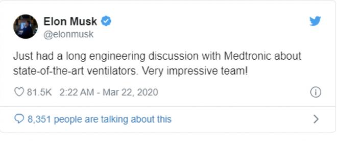 特斯拉与医疗器材企业美敦力商谈合作 生产呼吸机
