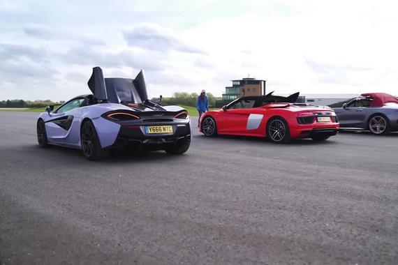 最强敞篷车大战:AMG GT C vs Audi R8 vs McLaren 570S vs BMW i8