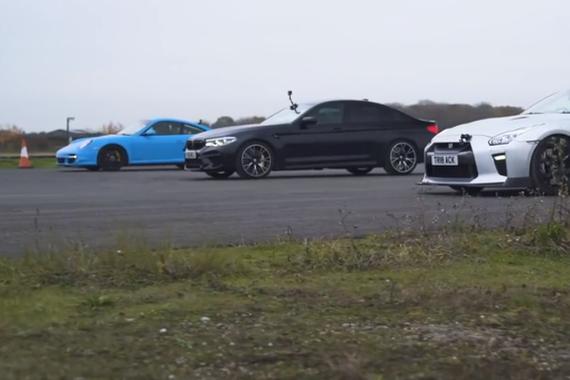 高性能车直线比拼 911 Turbo vs GT-R vs M5