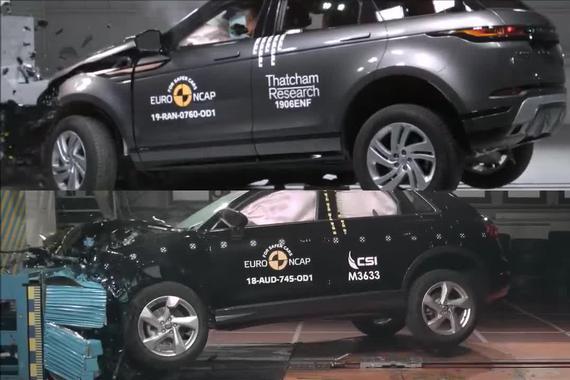 入门级豪华车谁更安全?路虎揽胜Evoque vs 奥迪Q3碰撞测试