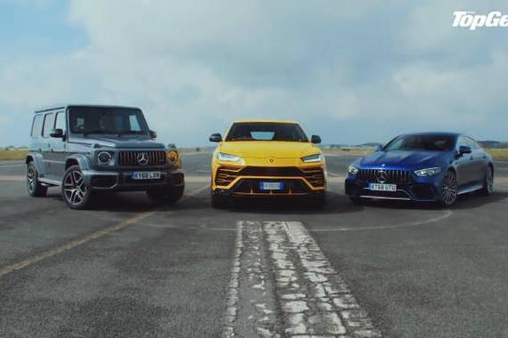 视频:跨界加速赛:兰博基尼Urus vs 奔驰AMG GT 63S vs 奔驰G63 AMG