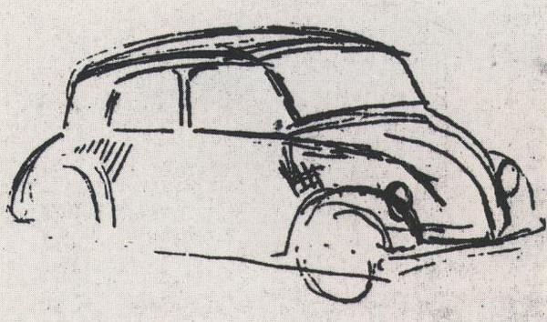 """希特勒亲笔绘制的""""大众化""""车的草图"""
