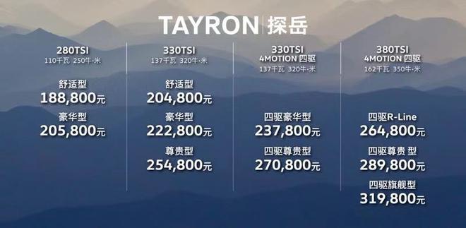 售价18.88-31.98万元 一汽-大众探岳上市