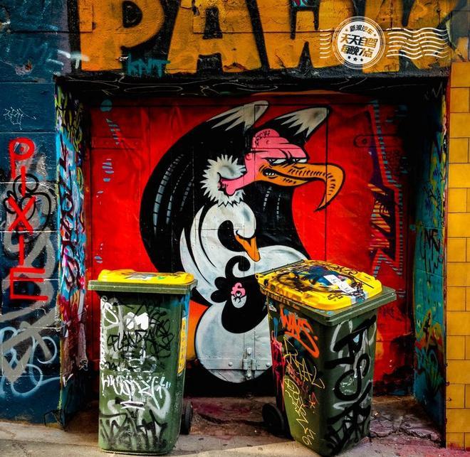 巷子里的垃圾桶也免不了被涂鸦