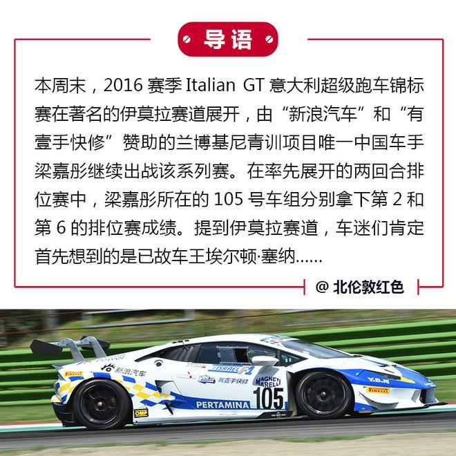 伊莫拉排位赛第2 梁嘉彤战意大利GT锦标赛