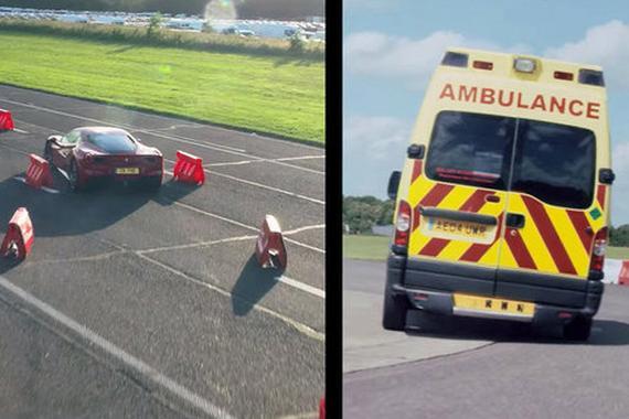 开救护车的维特尔飙过了法拉利488 GTB!
