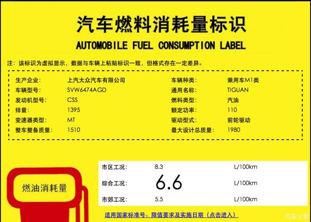 油耗6.6L/100km 新途观将保留MT车型