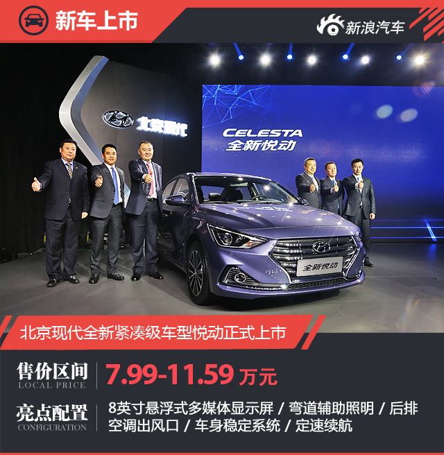 北京现代全新悦动上市 售价7.99-11.59万