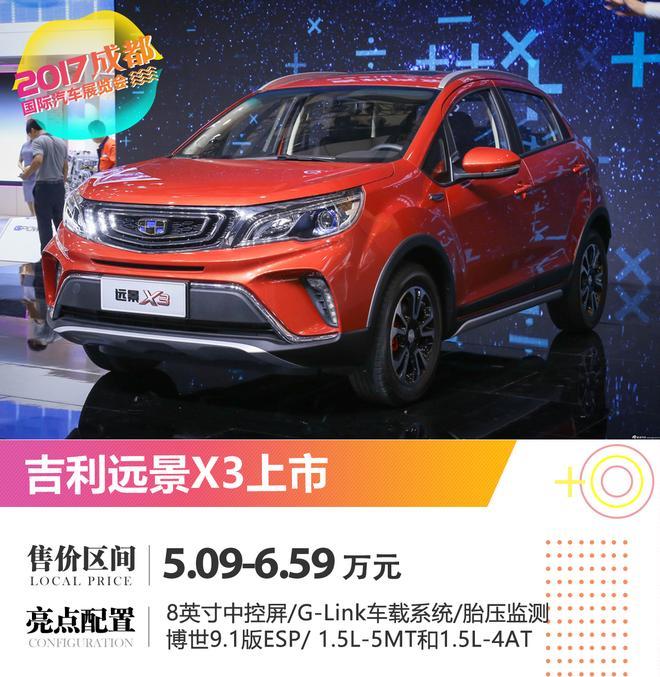 2017成都车展:吉利远景X3正式上市