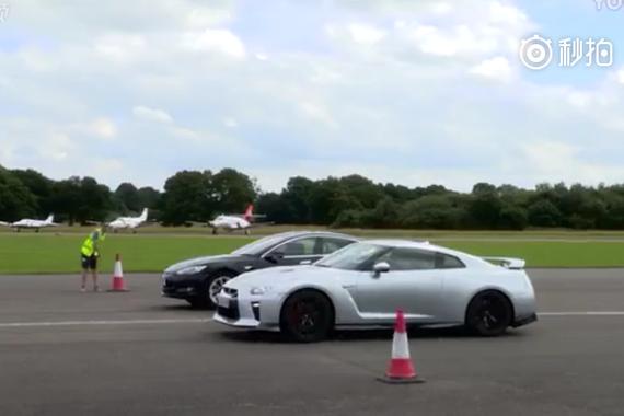 视频:加速大战!特斯拉Model S对决日产GT-R