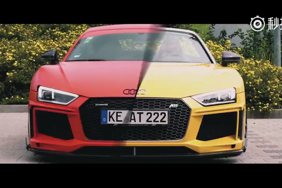 奥迪R8红色硬顶vs黄色敞篷