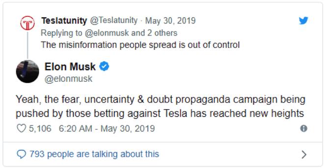 马斯克:特斯拉正受到化石燃料及传统汽车行业的攻击