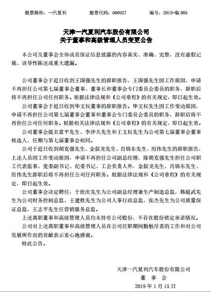王国强因工作原因辞去一汽夏利董事长职务