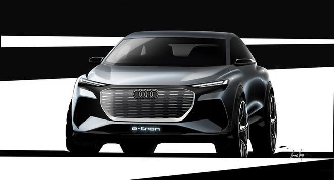 奥迪Q4 e-tron概念车预告图 日内瓦车展亮相