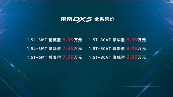 东南DX5全国上市 售价6.99-9.99万元