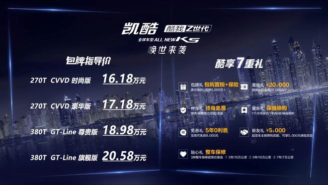 起亚K5凯酷月上市 包牌价格为16.18-20.58万元