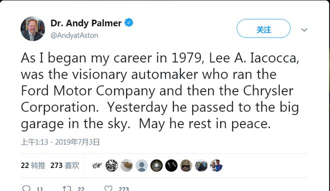 全球车企高层纷纷致敬李·艾柯卡