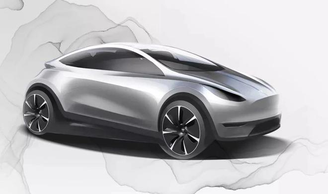 特斯拉中国发布的特斯拉紧凑掀背车设计图