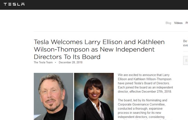 特斯拉任命两位独立董事 加强对马斯克监管