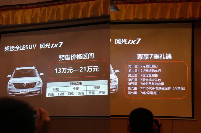 公布预售价13-21万元 风光ix7四季度上市