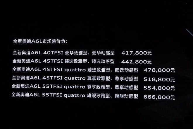 全新一代奥迪A6L正式上市 售价区间41.78-66.68万元