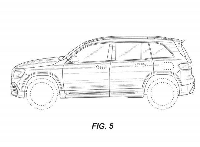 梅赛德斯-AMG GLB 45专利图曝光 四出式排气尾管设计