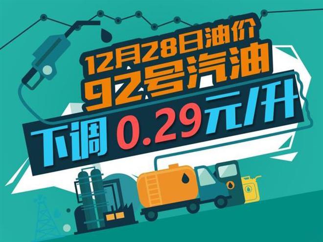 12月28日24时:92号汽油下调0.29元/升