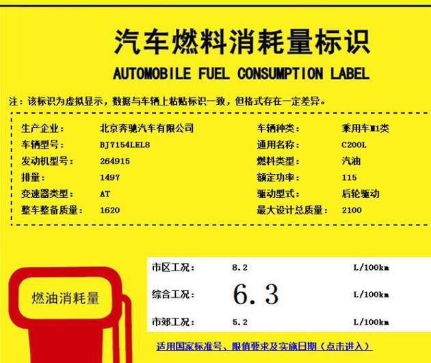 1.5T/156马力 北京奔驰新款C 200 L动力