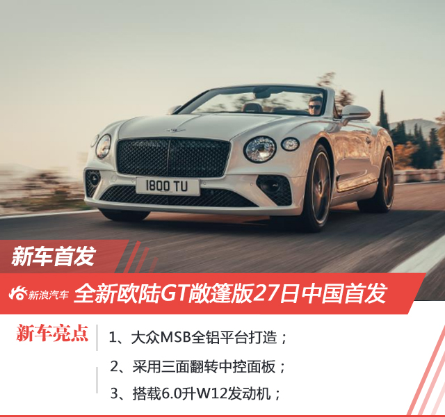 宾利欧陆GT敞篷版官图发布 11月27日中国首发