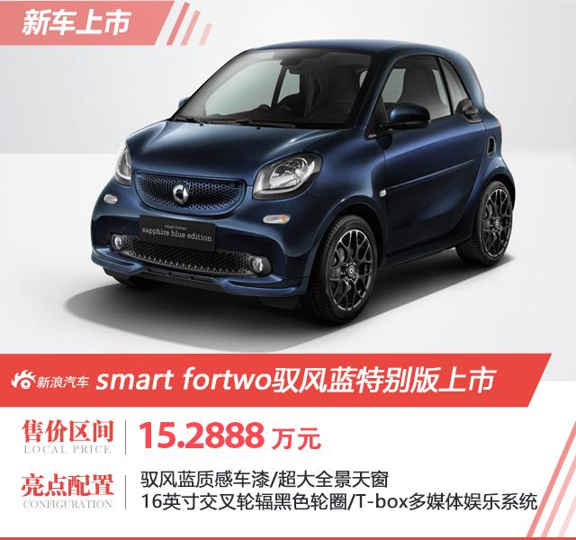 smart fortwo驭风蓝特别版上市 售15.2888万元