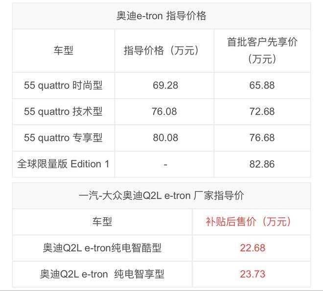 奥迪e-tron/Q2L e-tron正式上市 售69.28万起/22.68万起