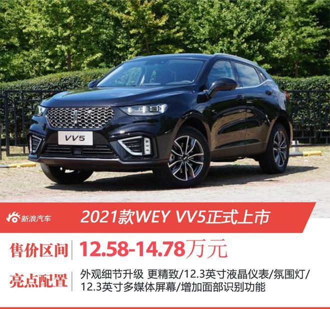 2021款WEY VV5正式上市 售价12.58-14.78万元