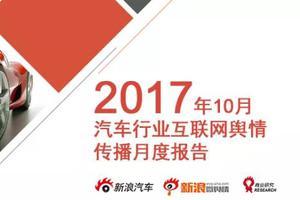 2017年10月汽车行业互联网舆情传播月度报告