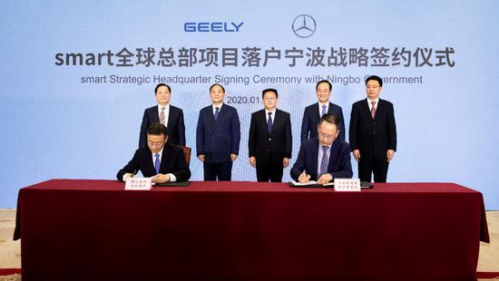 吉利控股与梅赛德斯-奔驰成立smart品牌全球合资公司