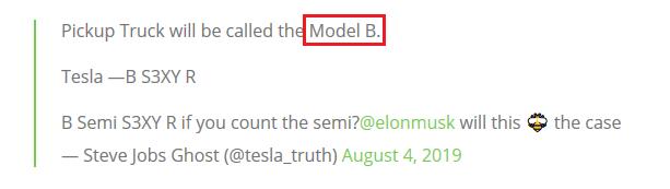特斯拉纯电动皮卡或将命名为Model B?