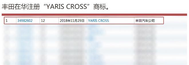 """丰田在华注册""""YARIS CROSS""""商标"""