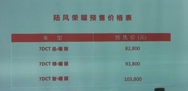 陆风荣曜预售价8.28万起 广州车展上市