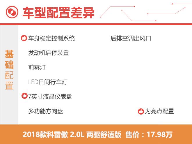 推荐2.0L豪华版 2018款科雷傲购车手册