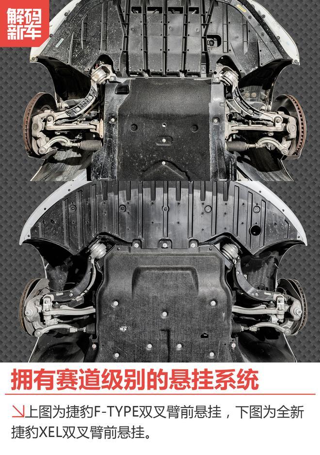 在车身结构上,xel使用了与f-type相同的双叉臂前,将三点式下摆臂