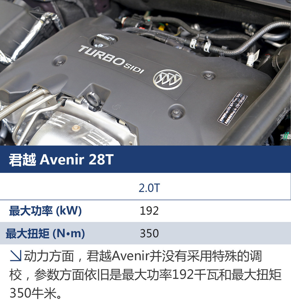 说到Avenir这个词,可能还有人会有些陌生,它并不是一款车型,而是别克针对中高端消费者推出的一个更高品质的子品牌车型,而今天试驾的主角君越Avenir实际上算是别克品牌Avenir系列中的第三款车型,之前的两款为GL8和昂科雷的Avenir车型,不过昂科雷还没进口到国内而已。简单的理解,Avenir系列就是在已有的车型中,针对高品质、高配置和高豪华度进行升级的特别车型,这包括车辆本身和一系列售后服务的内容。