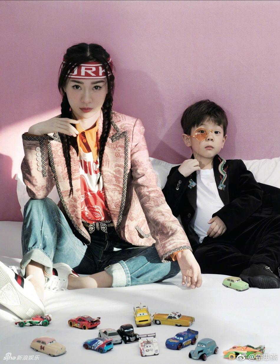霍思燕和嗯哼拍摄时尚大片 没想到霍思燕输给了儿子