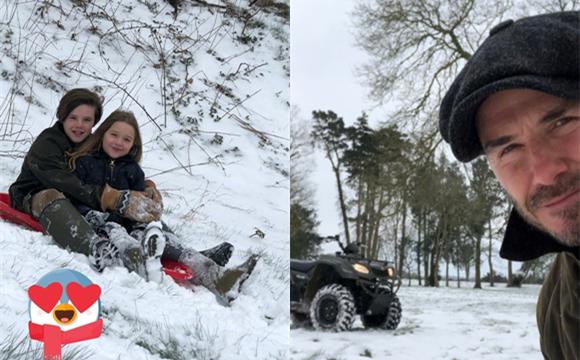 贝克汉姆带孩子们滑雪 小七超萌