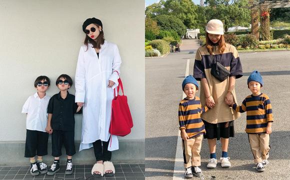 日本妈妈和两个双胞胎儿子的日常穿搭