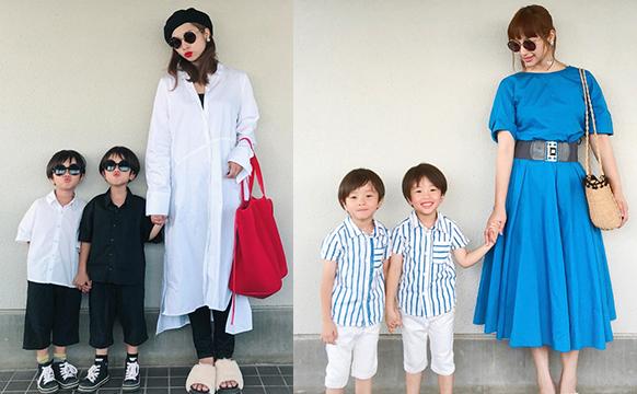 日本的妈妈和两个双胞胎儿子的日常穿搭