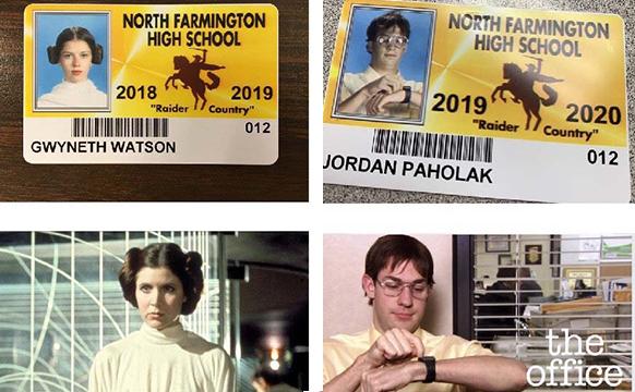美国高中生cos喜欢的人物拍学生证