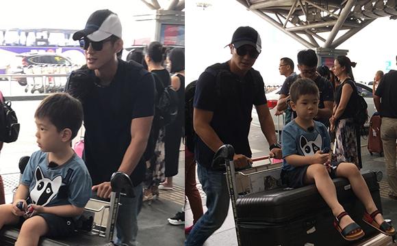 杜江带儿子嗯哼现机场录《爸爸去哪儿5》