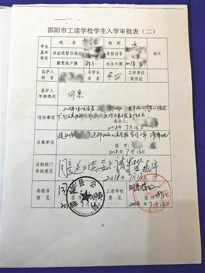 朱琦琦的入学申请表,上面记录着她的基本信息、违法事实等。